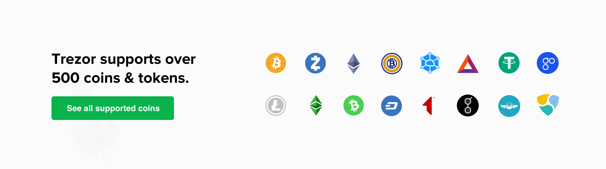Image result for trezor one coins supported