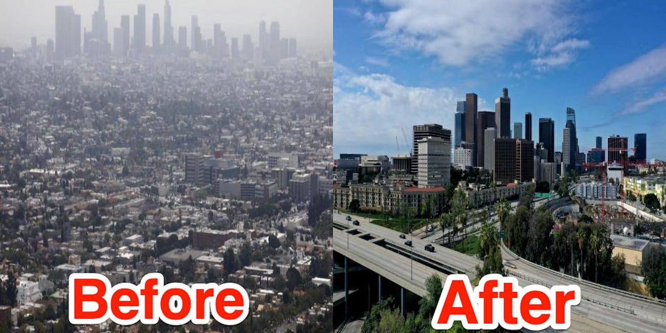 "Los Angeles, CA before and after the shelter-in-place mandate [(source)](https://www.businessinsider.com/photos-stay-at-home-order-reduced-los-angeles-notorious-smog-2020-4){target=""_blank""}"