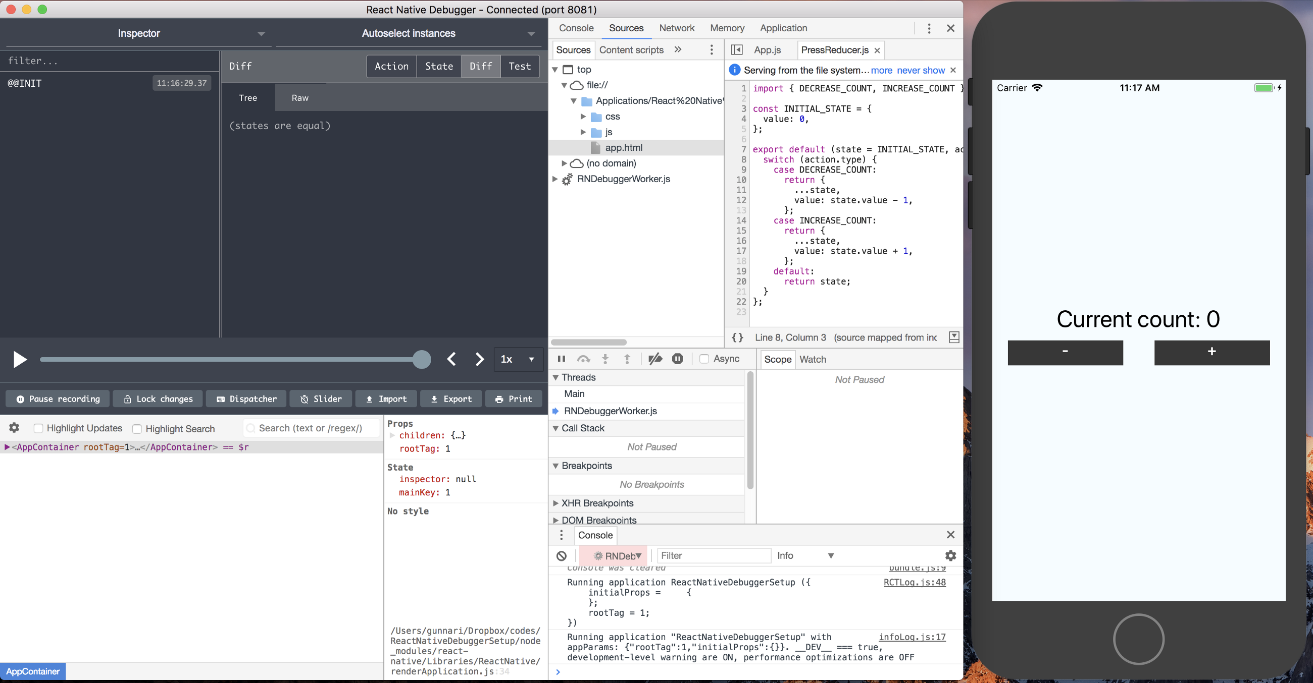 Using redux devtools with react native