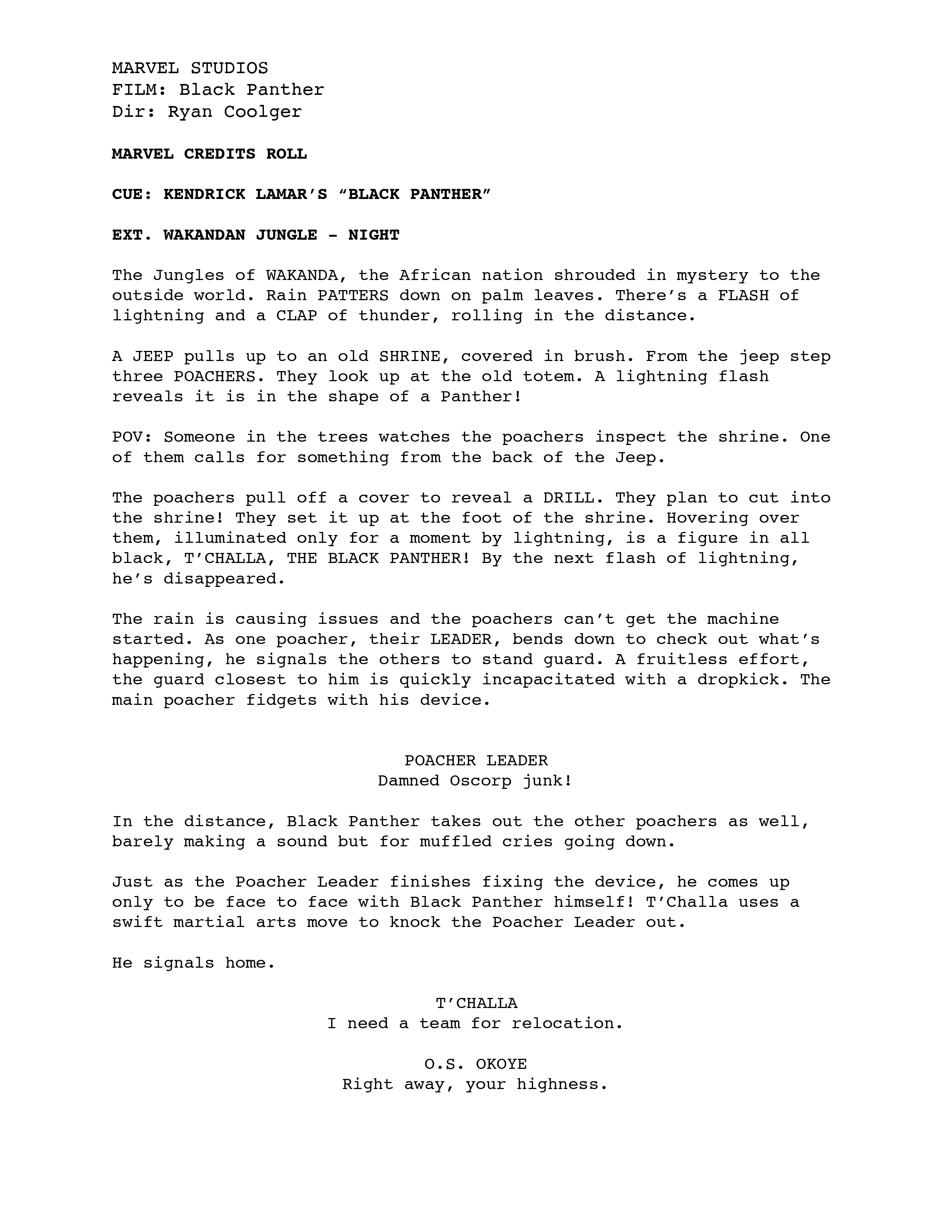 Leaked Script Pages Of Black Panther S Alternate Opening Scene