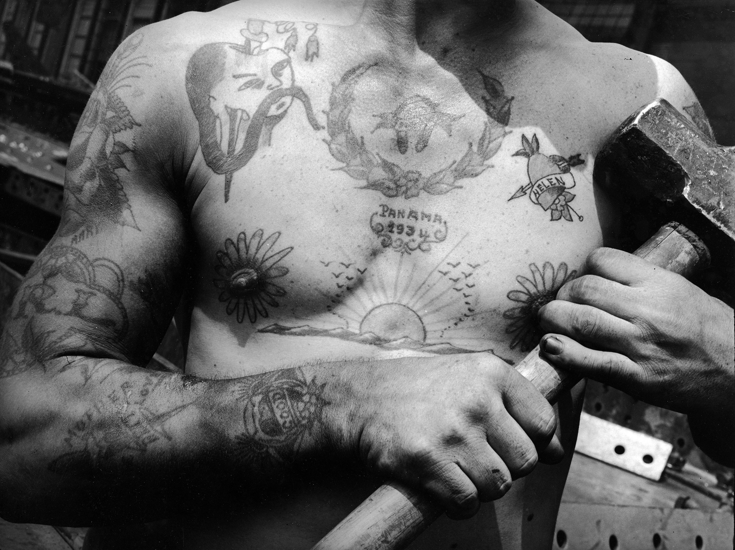 0fc47955c The tattooed torso of a shipbuilder in Baltimore, Maryland, 1937. (Margaret  Bourke-White/The Life Picture Collection via Getty Images)