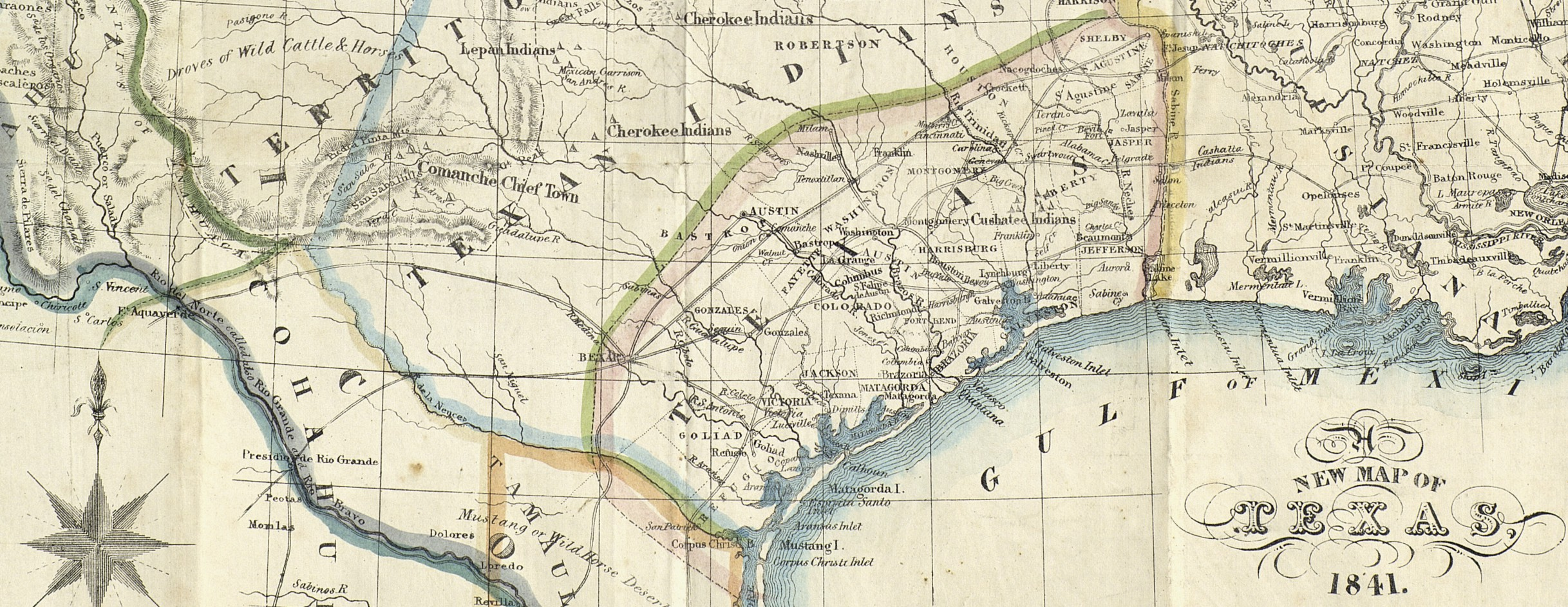 Austin Tx Map Of Texas.A New Map Of Texas 1841 Save Texas History Medium