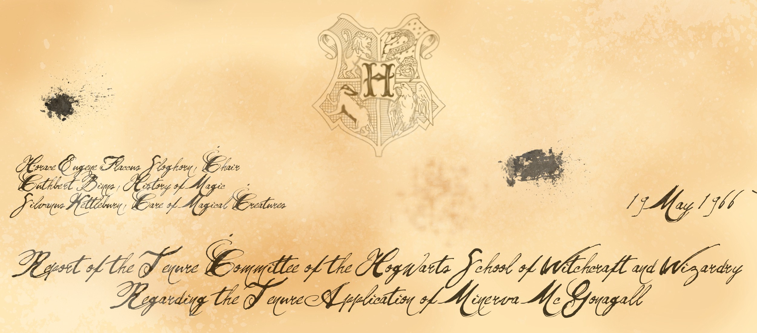 551c74e5ea Report of the Tenure Committee of the Hogwarts School of Witchcraft and  Wizardry Regarding The Tenure Application of Minerva McGonagall