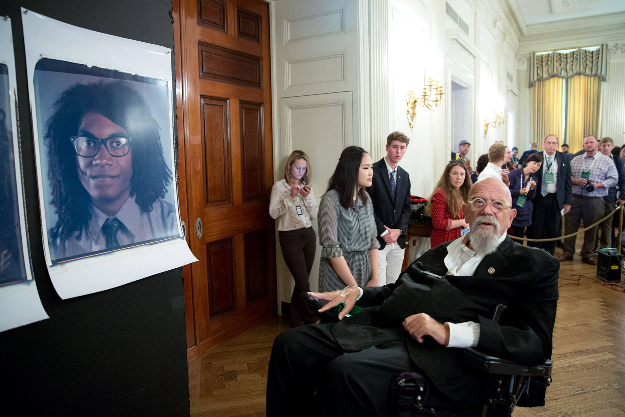 Artist Chuck Close Takes Large Portraits Of Visitors In The State Dining Room White House During South By Lawn Event On