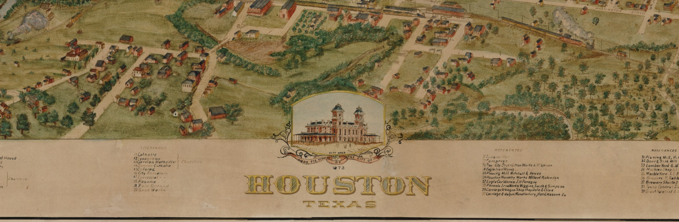 Birds Eye View Of The City Of Houston 1873 Save Texas History
