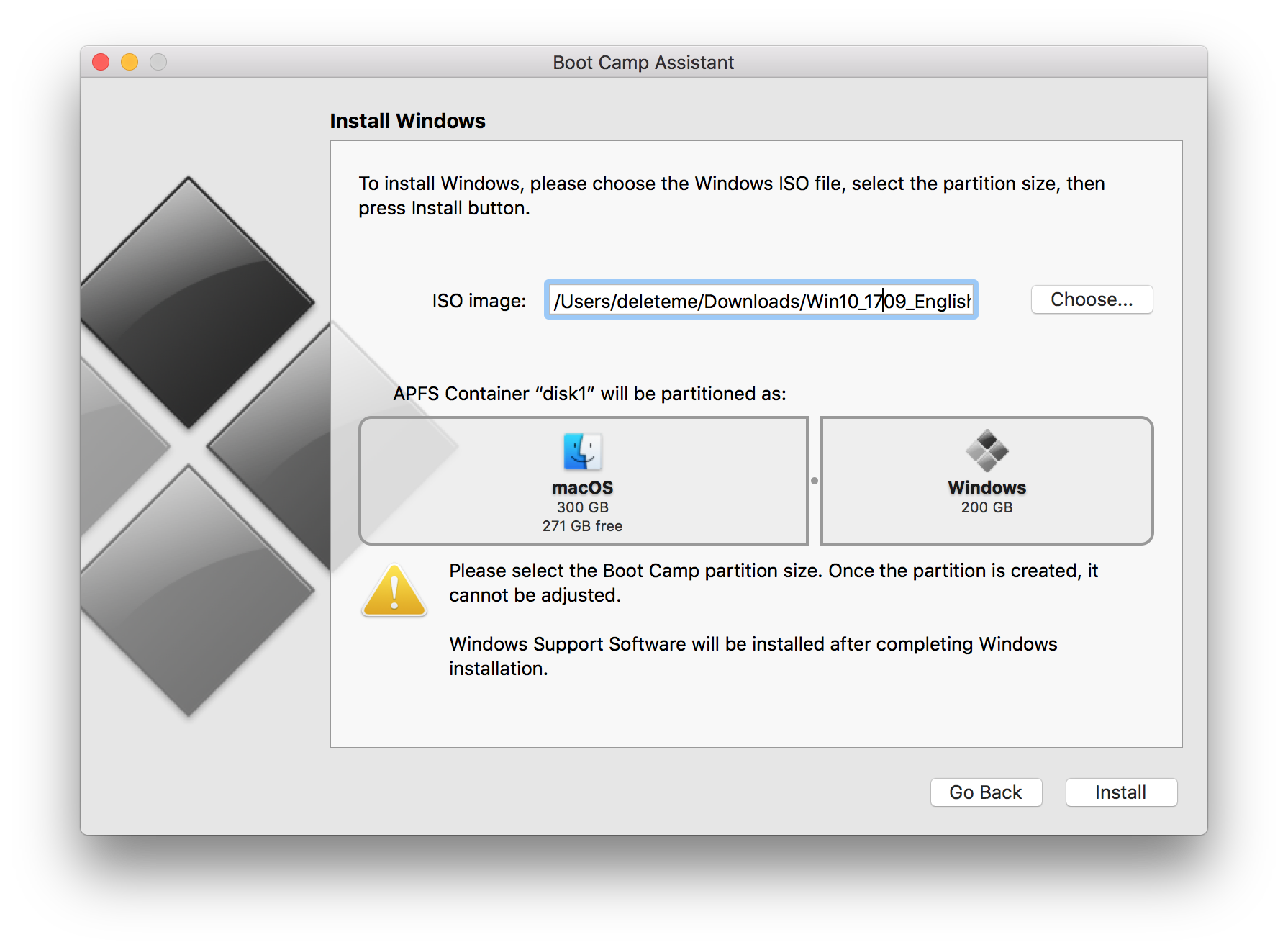 removing bootcamp partition failed