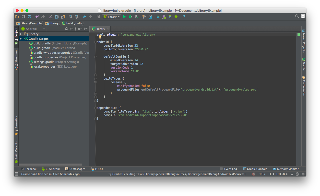 The end library build.gradle file