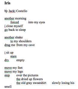 "the snap of a mindful line break teresa buczinsky medium to appreciate the power of line breaks look at the poem ""iris"" by prospect grad jackie costella jackie wrote this poem during her senior year"