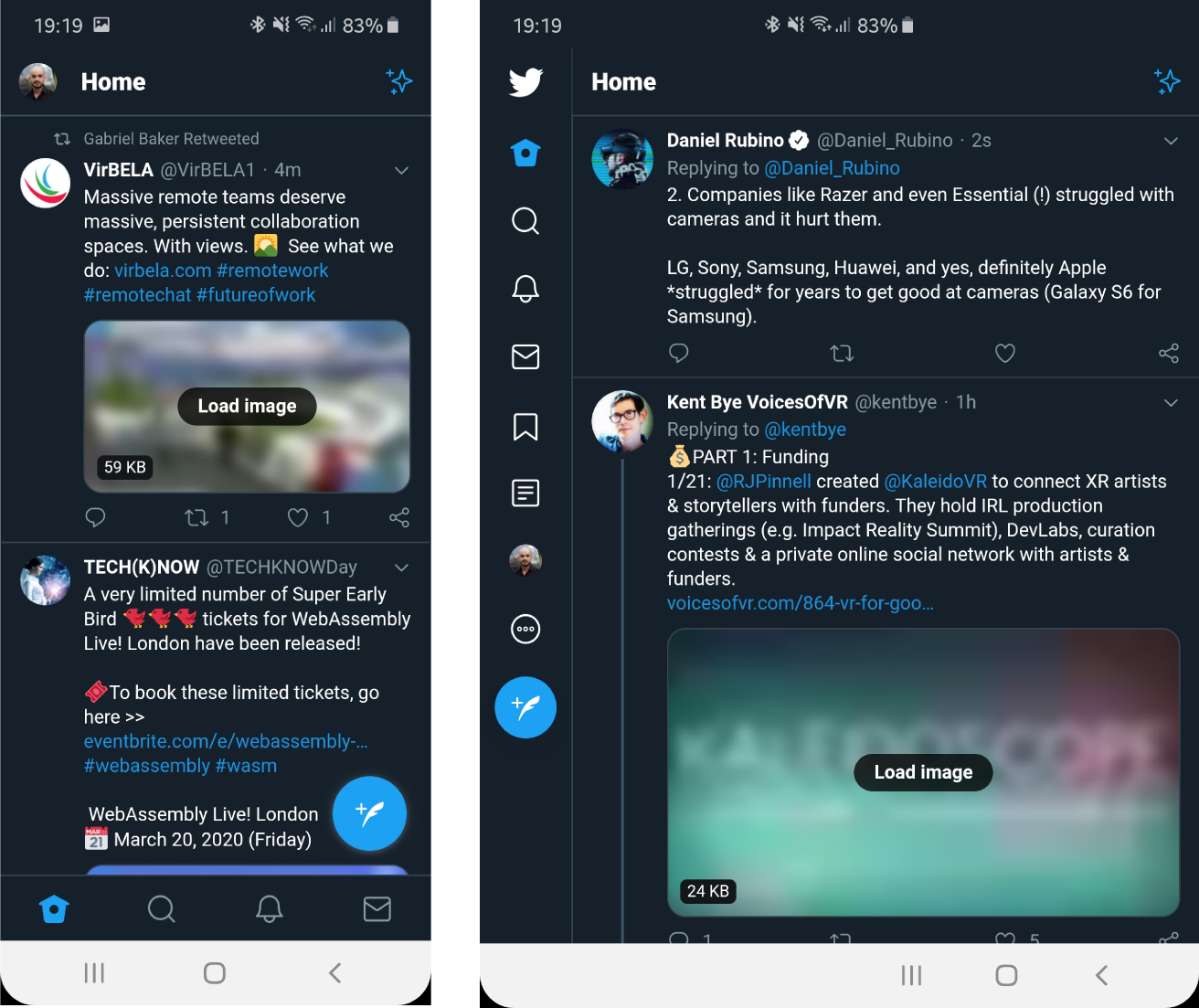 Fig 3: Twitter PWA on the front screen of the Galaxy Fold (left) and on the inside screen (right)