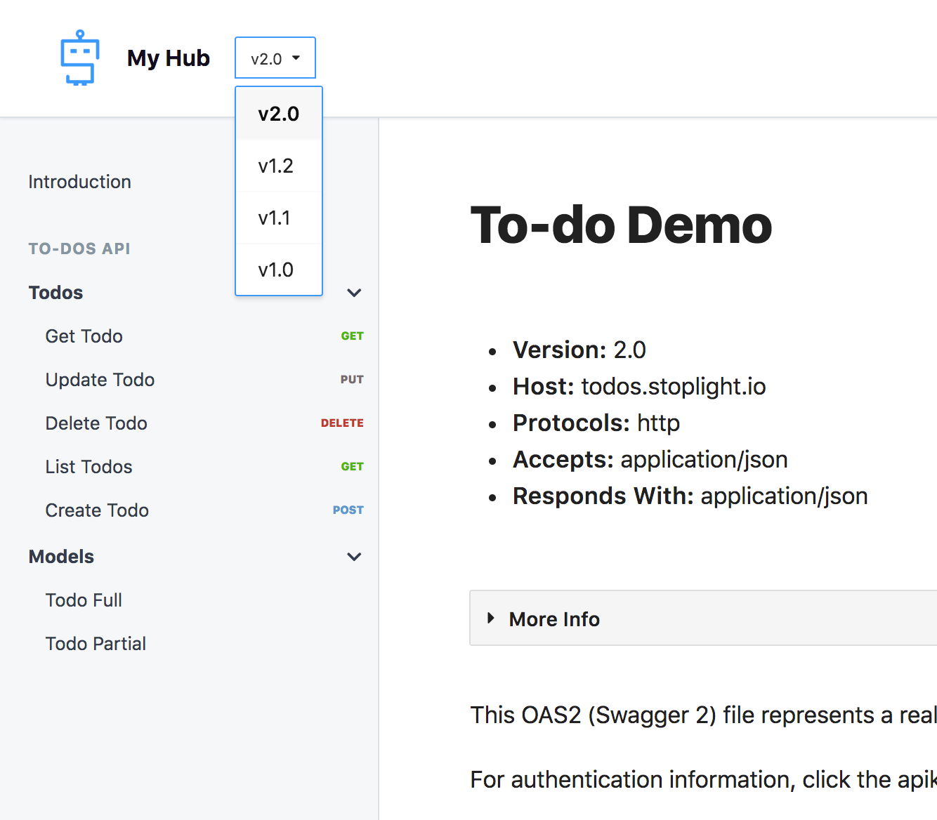 You can select the version you want to see the documentation for in the dropdown selector
