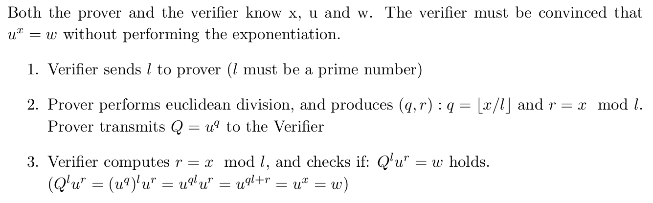 Proof of Exponentiation (note: current revision of the paper has a typo, and sets Q=g^q instead of u^q in page 8.