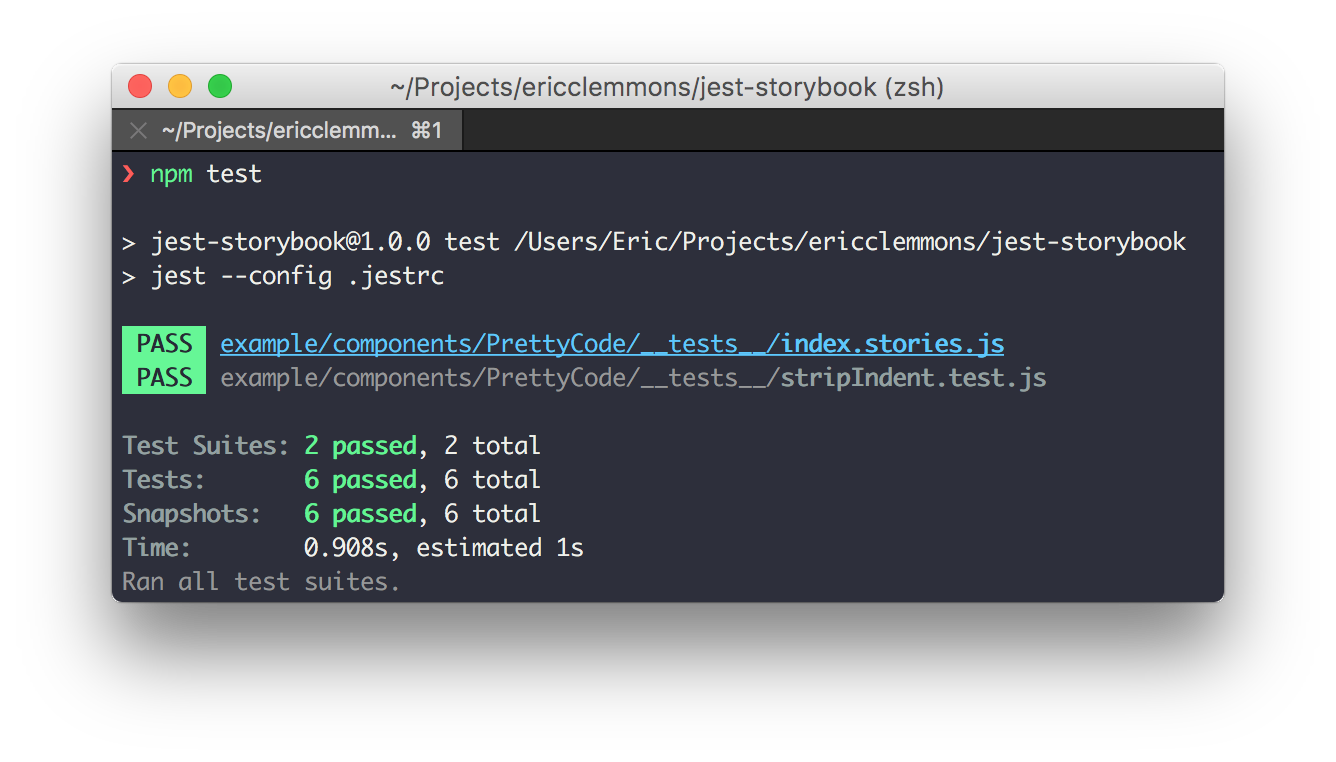 Stories & Unit tests both have snapshots.
