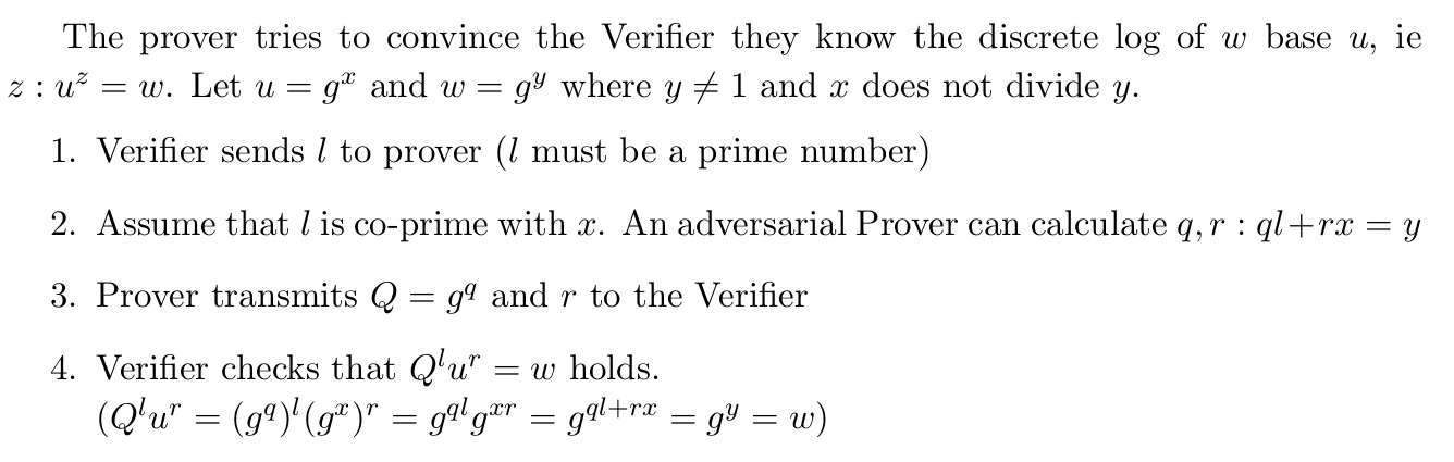 The verifier got fooled by the Prover that they know z: u^z=w, without knowing z!