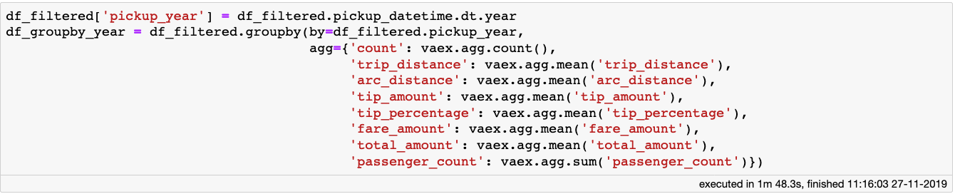 A group-by operation with 8 aggregations for a Vaex DataFrame with over 1 billion samples takes less than 2 minutes on laptop with a quad-core processor.