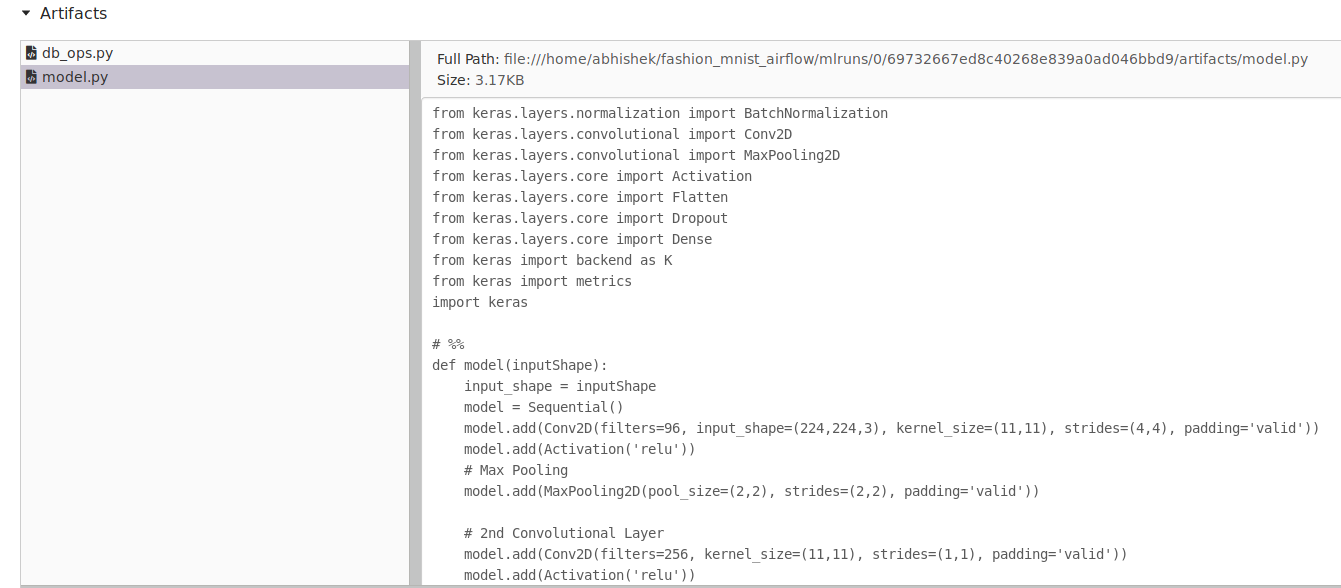 Fig 22b: model file and db_ops file logged as artifact on mlflow
