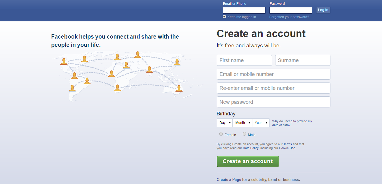 Observe the absence of logo. Modified Facebook. Users were taken here when they clicked the Facebook button.