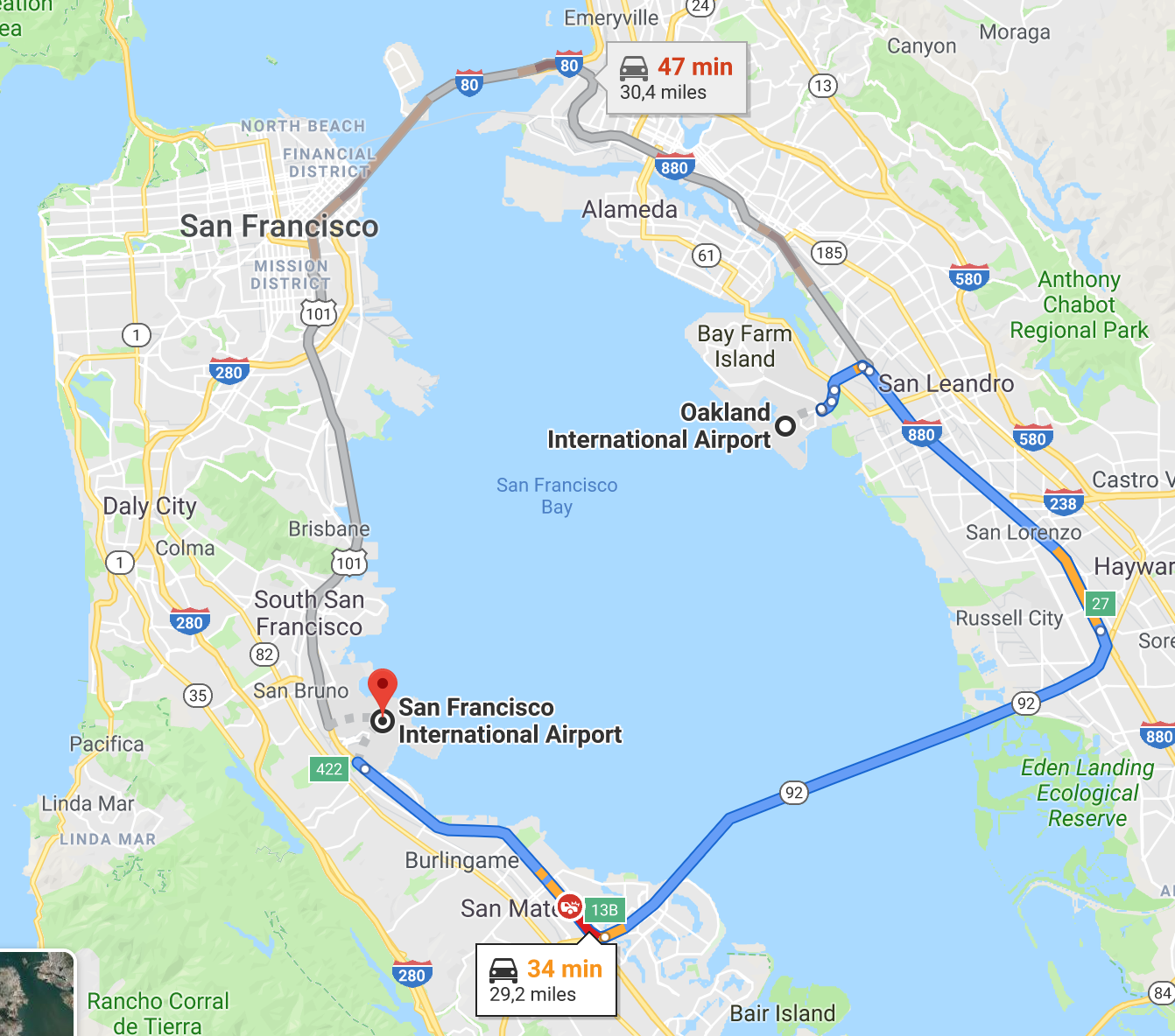 Fig. 8: Google Maps screen-shot showing the proximity between San Francisco and Oakland airports.