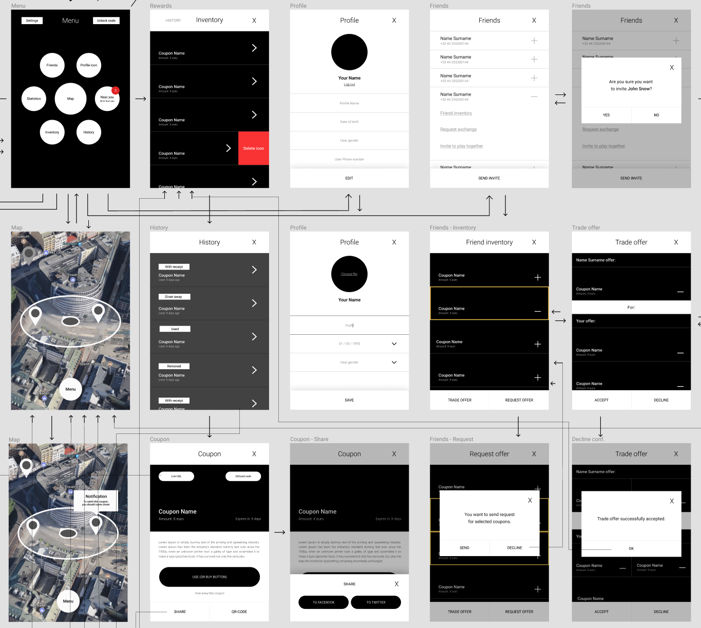 Some of the app wireframes