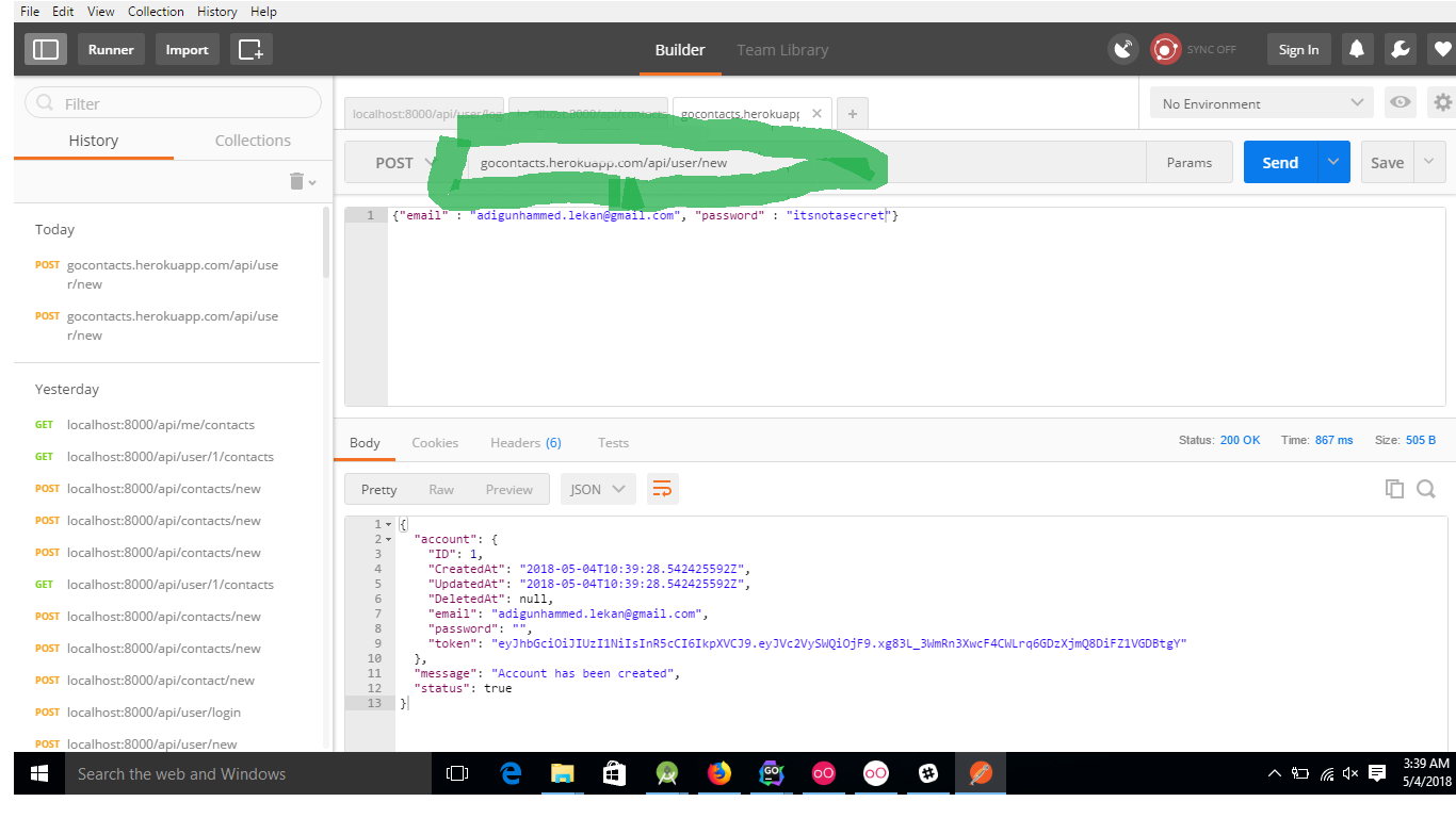 As you can see, the api is live!