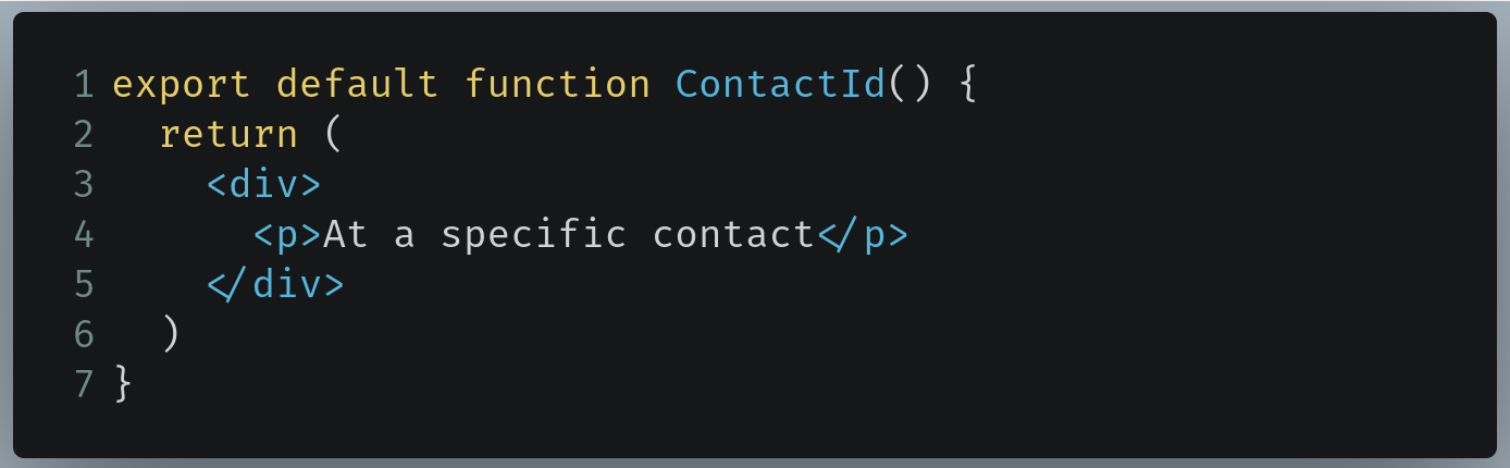 Code to write in /pages/contact/[id].js