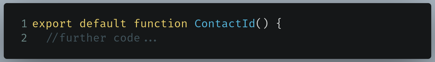 Code to find in /pages/contact/[id].js