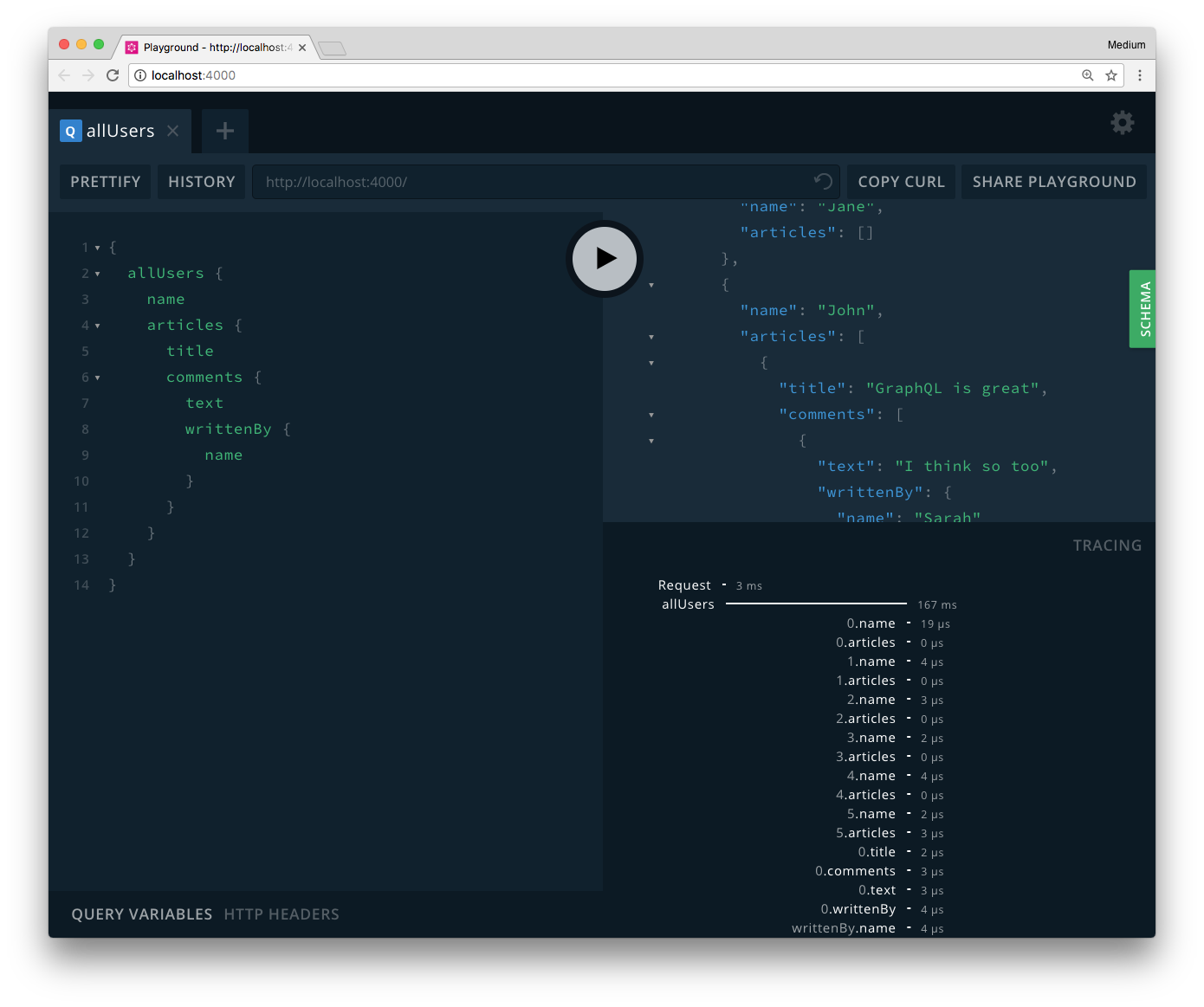 [GraphQL Playgrounds](https://github.com/prismagraphql/graphql-playground) support displaying [tracing](https://github.com/apollographql/apollo-tracing) data for resolvers out-of-the-box (bottom right)