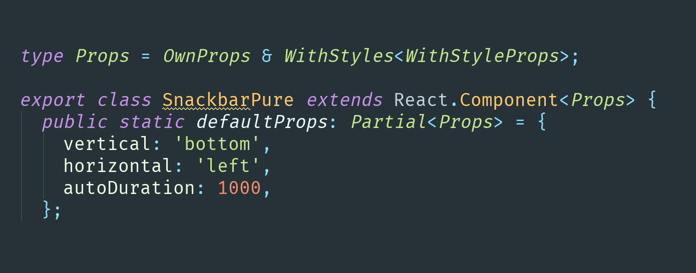 Use Partials in typings for default props