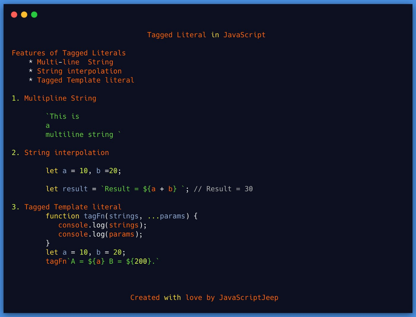 Template Literals in JavaScript