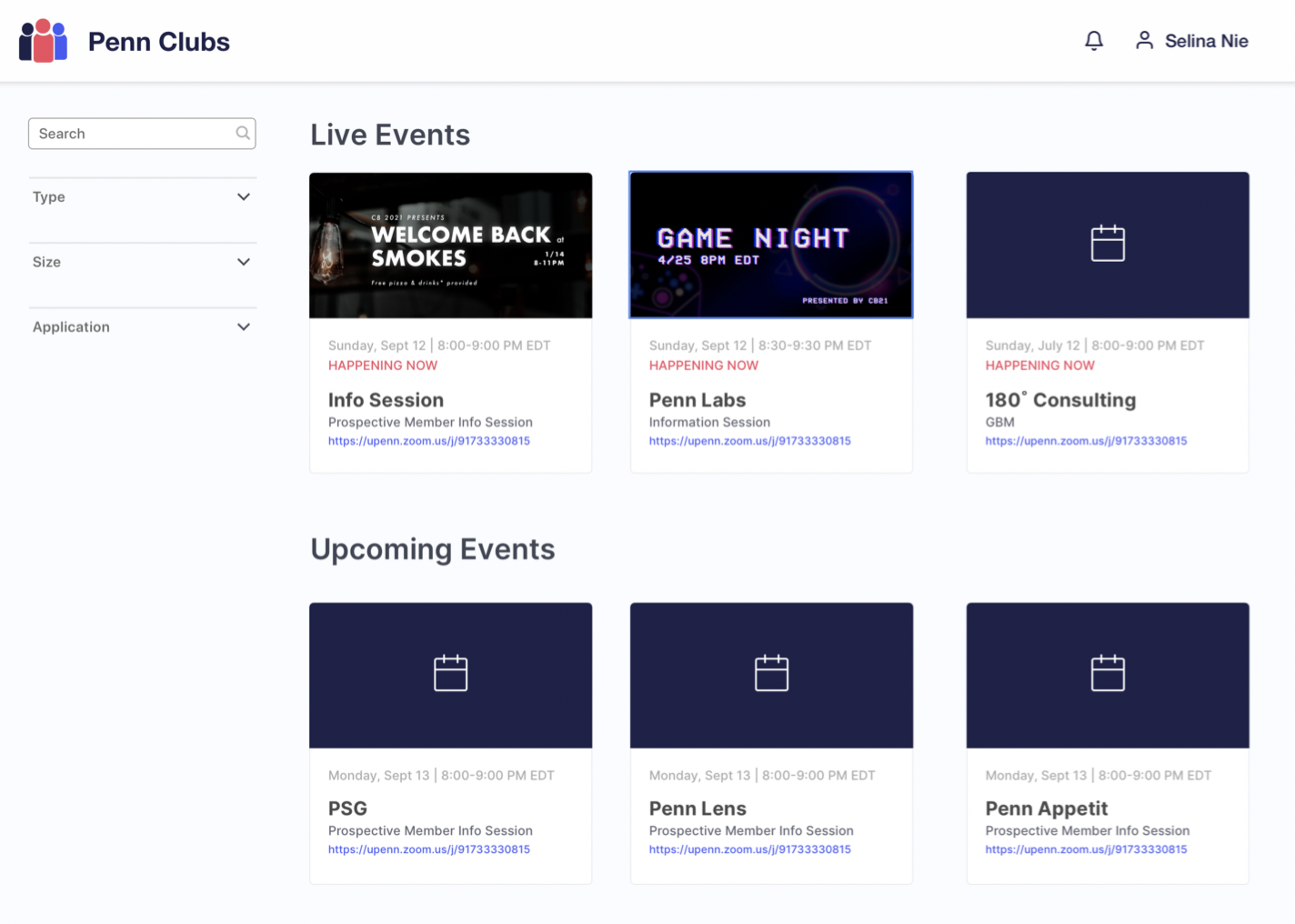 Screenshot of Penn Clubs's live event page