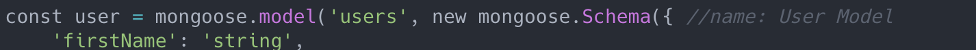 """""""//name: User Model"""" names this section of code """"User Model"""""""