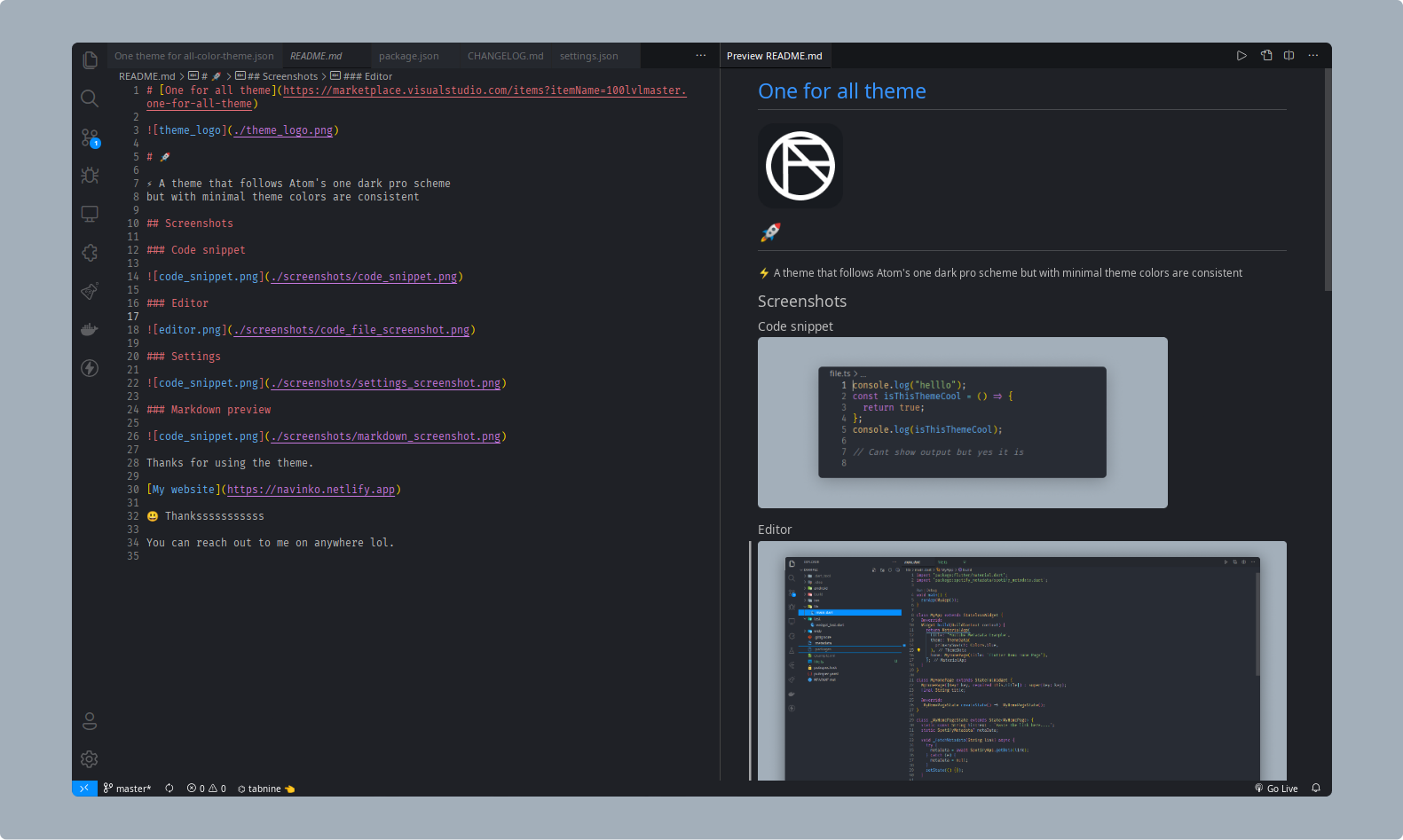 Markdown — One for all darker