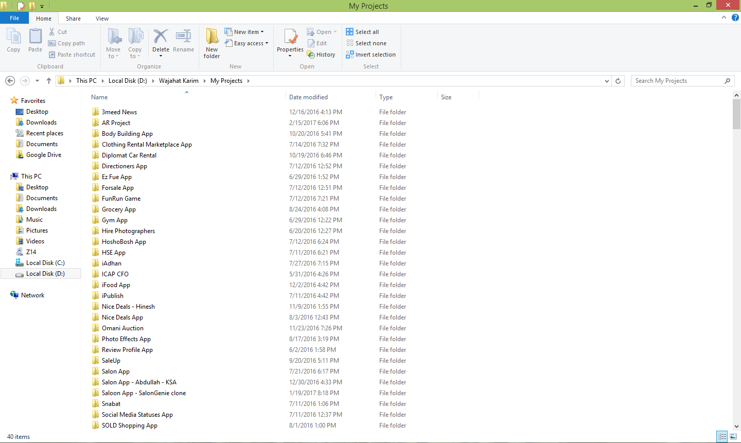 A Glimpse of 'My Projects' Directory in My Laptop (look at the scrollbar size)