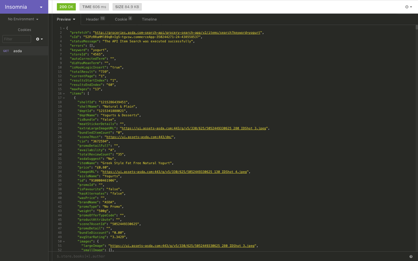 Preview of JSON response in Insomnia