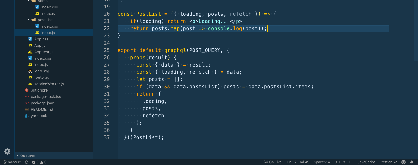 PostList Functional component