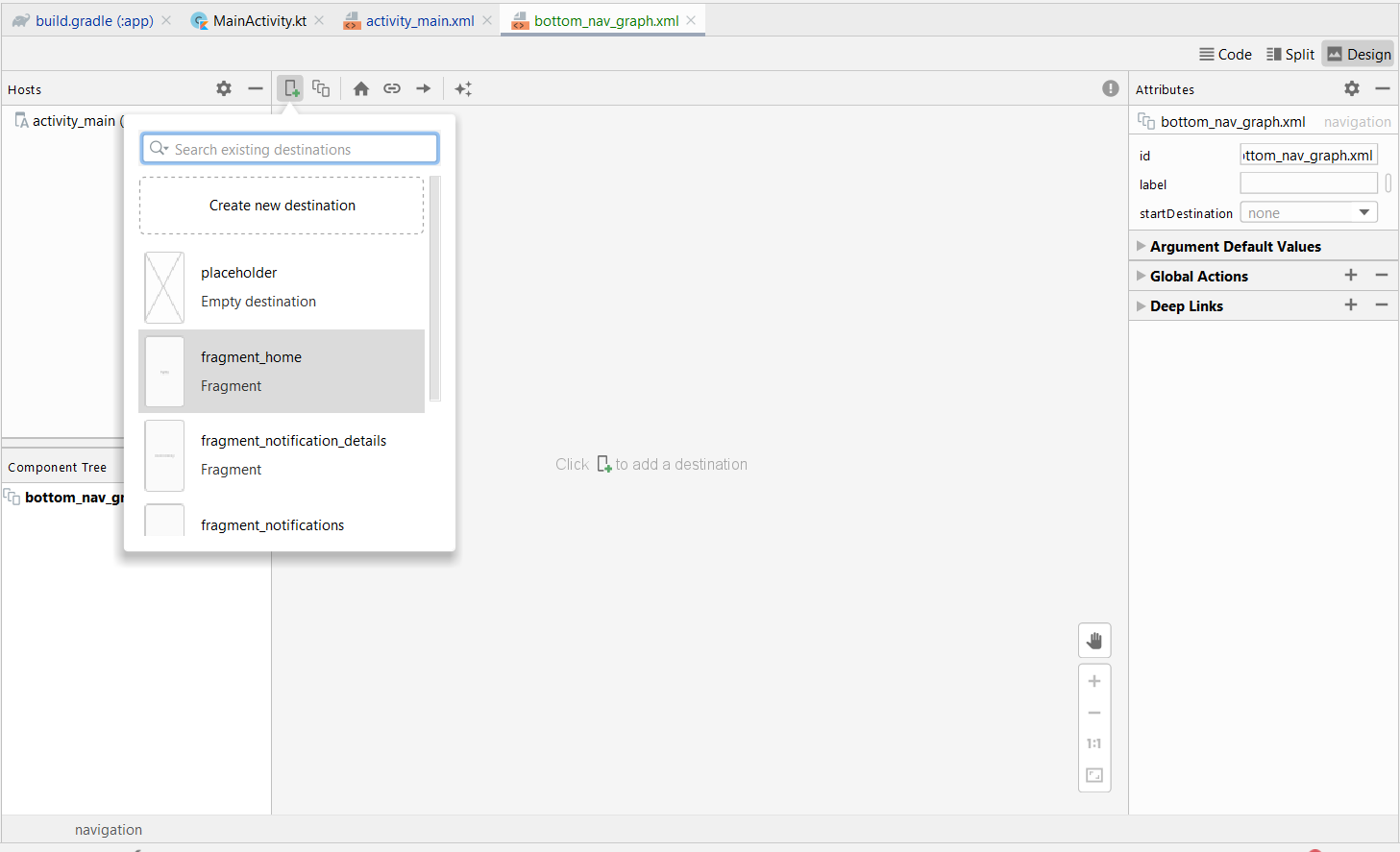 Adding Home as Destination in Navigation in Android Studio