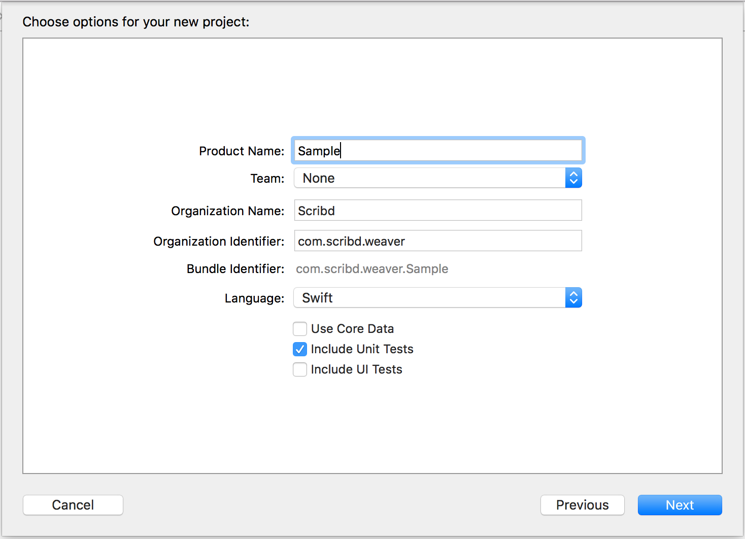 Xcode project creation window