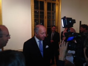 Fabius answers questions.
