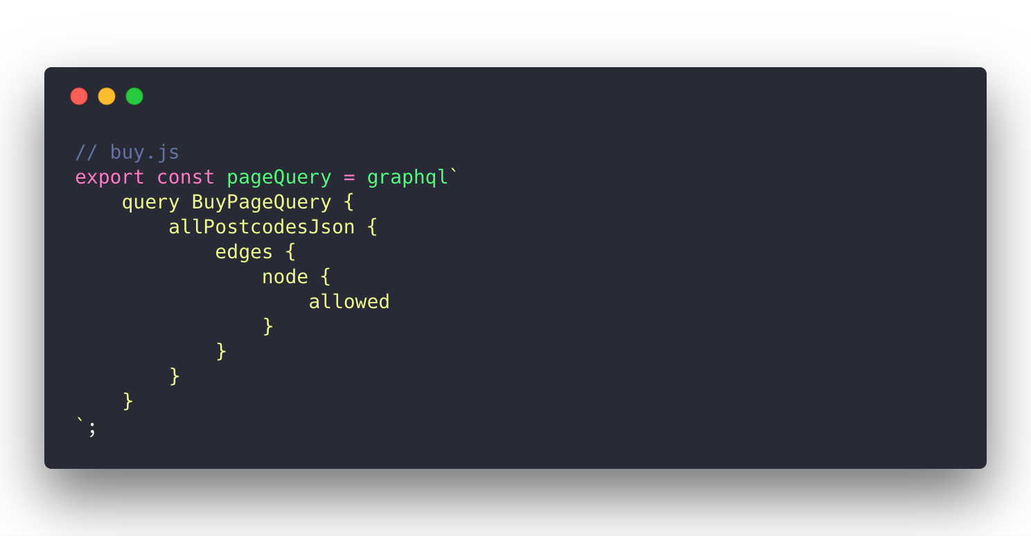 Querying postocodes with GraphQL