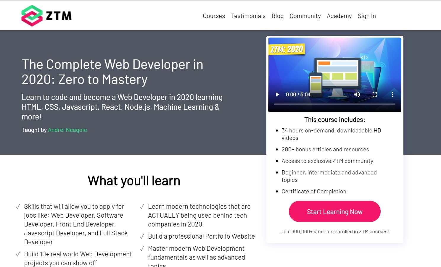 Screenshot of the main page of [The Complete Web Developer in 2020 course](https://academy.zerotomastery.io/p/complete-web-developer-zero-to-mastery)