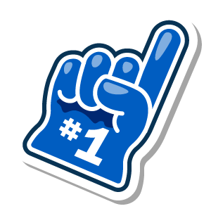 #1 foam hand Foursquare sticker