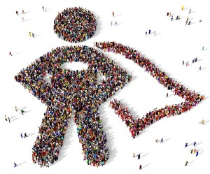 Picture of superhero made of people
