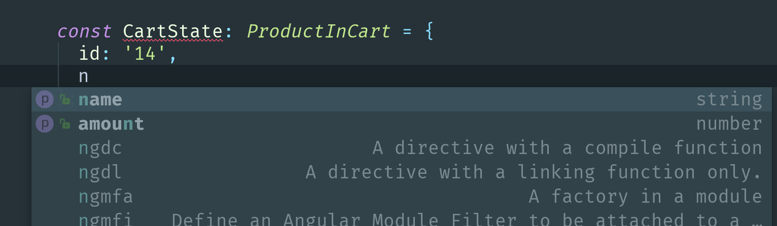 Webstorm autocomplete tool suggests to add name and amount for CartState variable