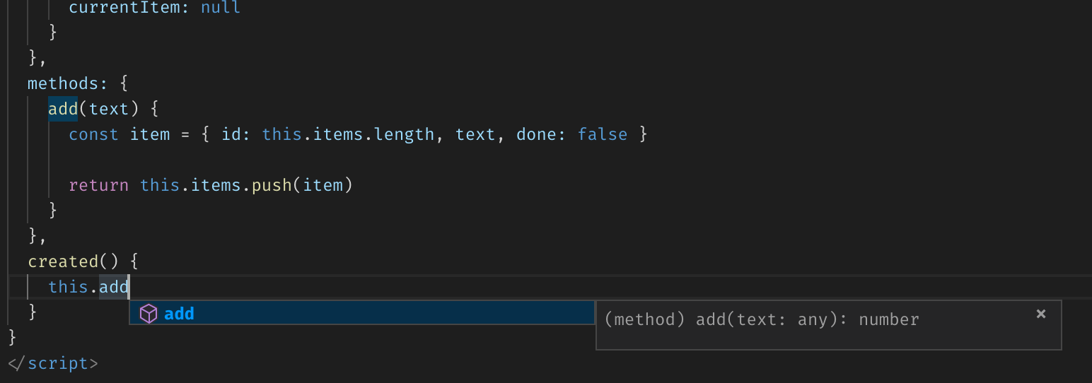Vue component's method name autocomplete suggestion in VS Code