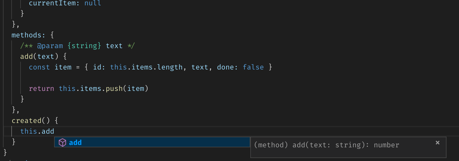 Vue component's method name autocomplete suggestion in VS Code with complete type information