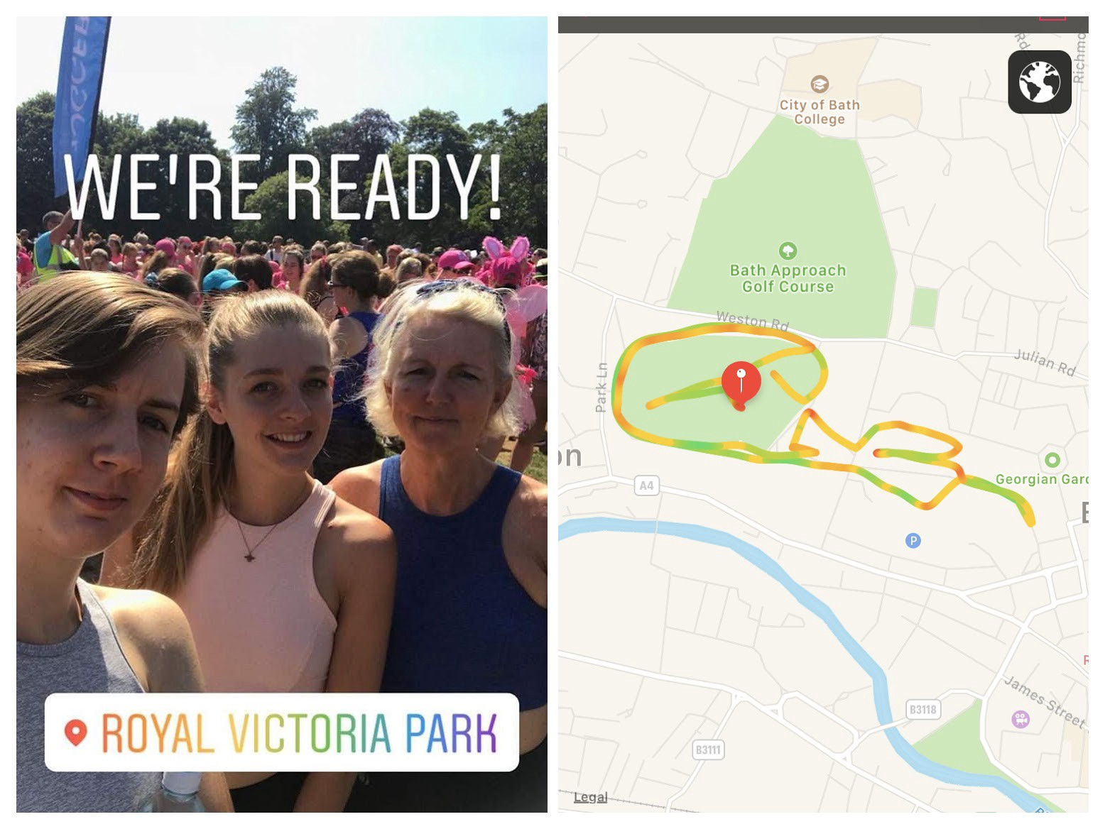 Me, my sister, and my mum ran the race for life in Bath in July where it was 28C!