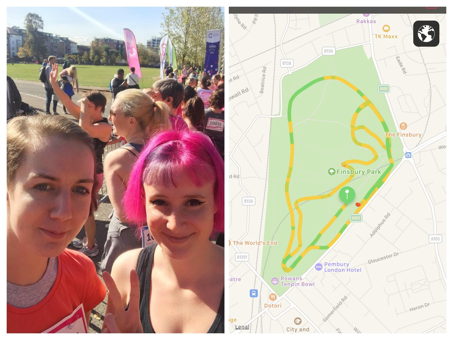 My friend Jo and I ran a 5km race for life in Finsbury Park but it was mismanaged and we had to make our own 5km route up!