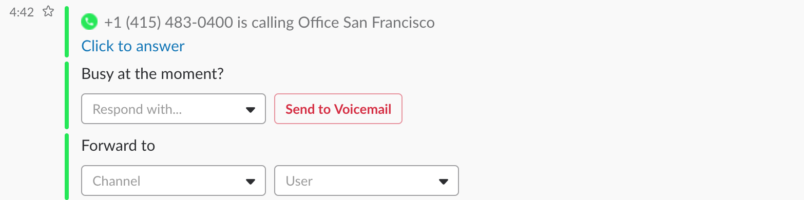 Forward feature: Click on the drop-down menus to forward calls to channels or users!