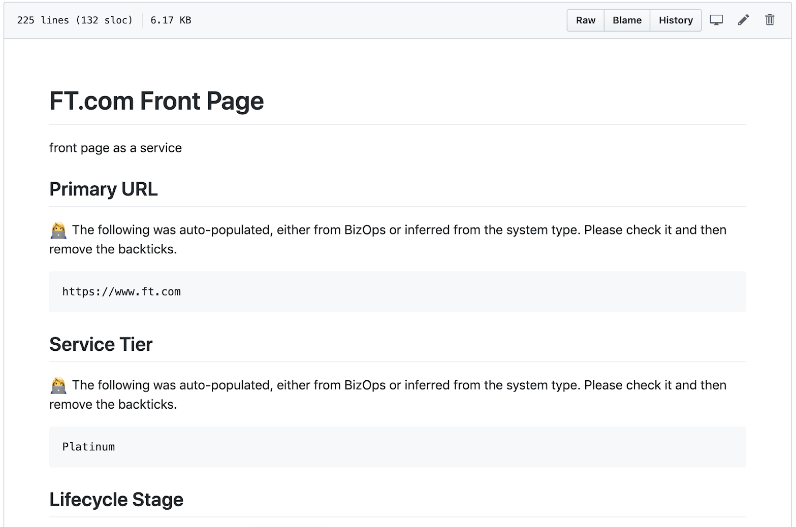 A runbook in markdown, with pre-populated content and tips
