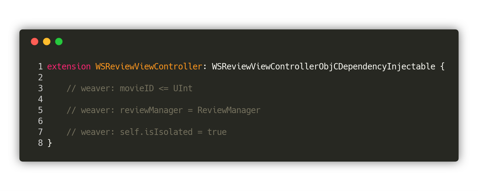 [WSReviewViewController+Injectable.swift on Gist](https://gist.github.com/trupin/29816f57a992fe174d0b6e1053f38076)