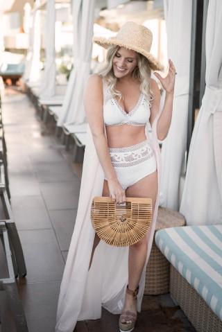 A Cute White Lace Bikini for Summer styled by popular Orange County fashion blogger Dress Me Blonde